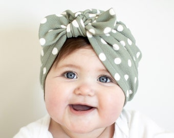 4ef41446d30 Sage Green Polka Dot Hat  baby turban hats with -top knot-