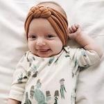 Camel : sailors knot headband, cognac baby headband, brown baby headband, brown baby headwrap