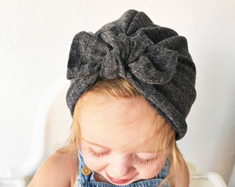2226316eb8bbf2 Charcoal Ribbed Fuzzy Hat: (sweater) baby turban hat with bow, warm baby hat,  newborn hat, baby turban, hospital hat, baby bow hat