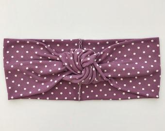 a9facae7ad2 Purple Mini Polka dot  (soft) retro knot headband - newborn headband -infant  head wrap