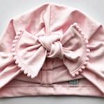 Light Pink Hat: (jersey) w/ pom pom bow, Baby Girl Hat, Baby Bow Hats, Baby Turban, Pink Baby Girl Hat