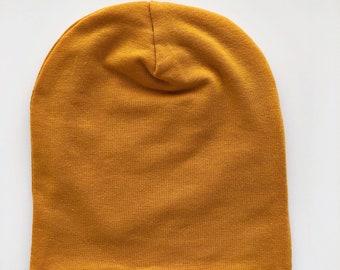 c5aae44803c Mustard Yellow  Fold-Over Beanie -newborn beanie