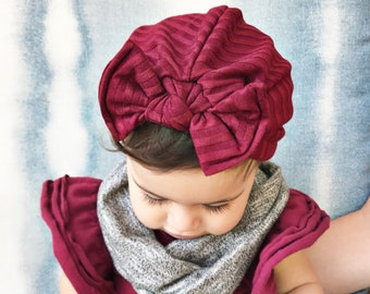 ba4110289914d7 Burgundy Ribbed Fuzzy Hat: (sweater) baby turban hat with bow, winter baby  hat, newborn hat, maroon baby turban, hospital hat, baby bow hat