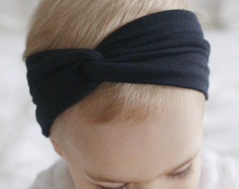 Solid Black turban headband 4c47ad3551a