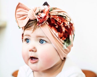 d3a45a848e3 Georgia Peach Hat  (soft) baby turban FLAT BOW hat