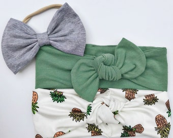 Citrus & Celery Set: {3 items} heathered gray floppy bow, celery sage green top knot, pineapple retro knot