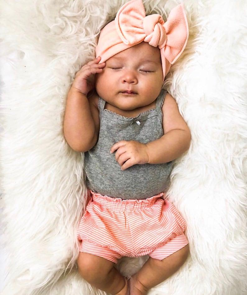 Pale Peach Textured : flatbow  headband baby headband coral image 0