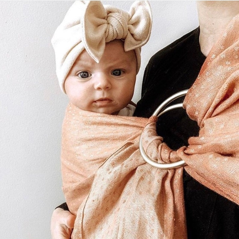 Cream Knit Hat: sweater w/ Flat Bow baby turban hat with image 0