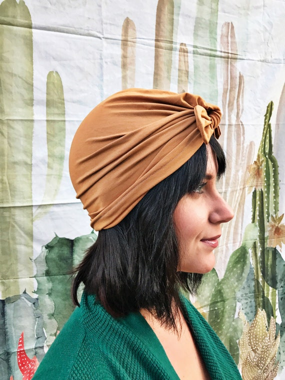 04df1d4e98f Camel ADULT turban hat with Bow