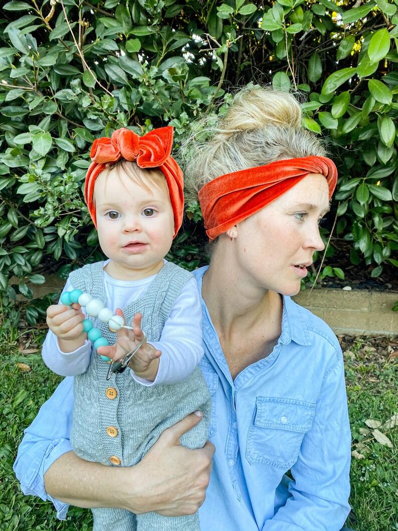 Mommy and Me set child flat bow headband gold velvet Adult BOHO twist headband Persimmons Velvet: matching set holiday