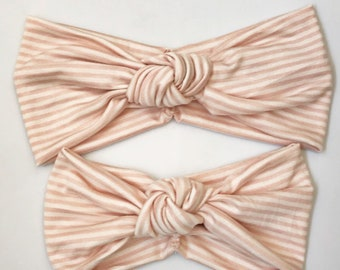 Pink Stripe XL Retro Knot : Mommy and Me set (2 items}, matching headbands, jersey headbands