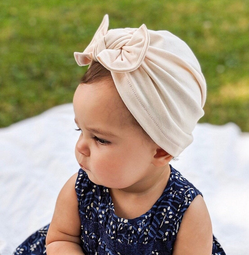 Natural Hat: jersey w/ Flat Bow  baby turban hat baby image 0