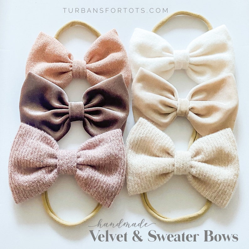 Heathered Rose Champagne Velvet /& Heathered Natural Winter Mauve Velvet Cream Sweater Lively Elliott Set: {6 XL bows} Blush knit
