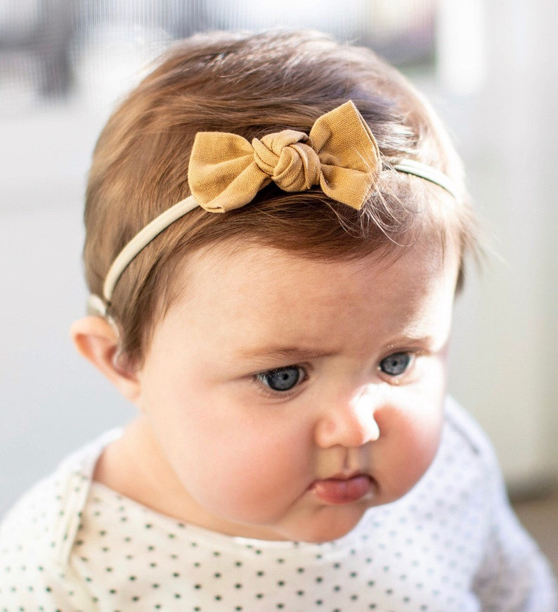 Linen Cognac: Knot bow baby bow tiny bow little bow baby image 0