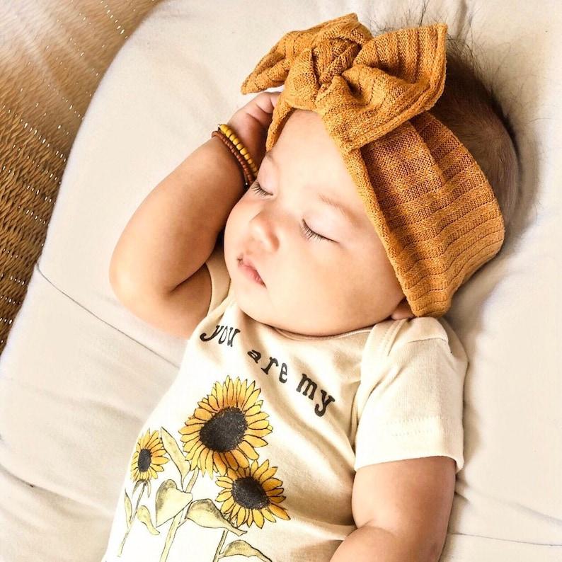 Mustard Sweater Ribbed : flat bow headband baby headband image 0