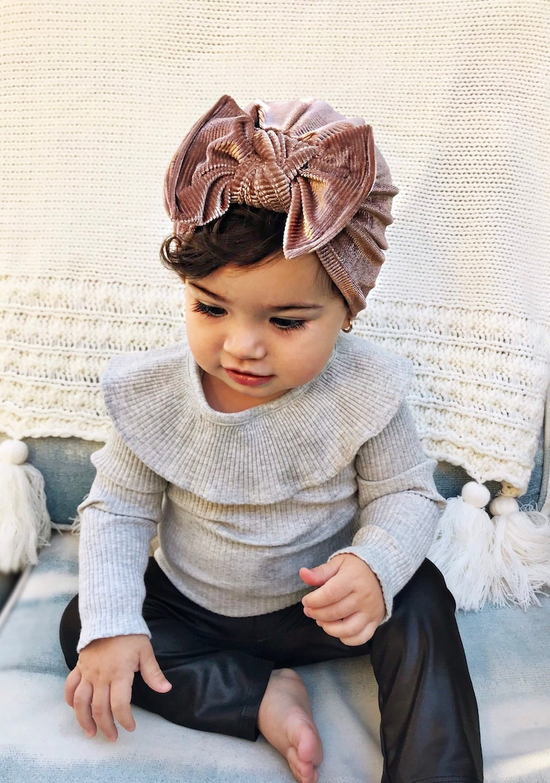 Winter Mauve Hat: Velvet w/ Flat Bow  baby turban hat with image 0