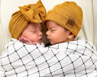 Sibling Hat Set: Mustard Knit {2 hats} Girls Turban hat w/ flatbow & Boys Beanie