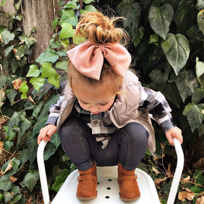 Blush Knit CLIP: Scarf Bow  Oversized bow big bow big pink image 0