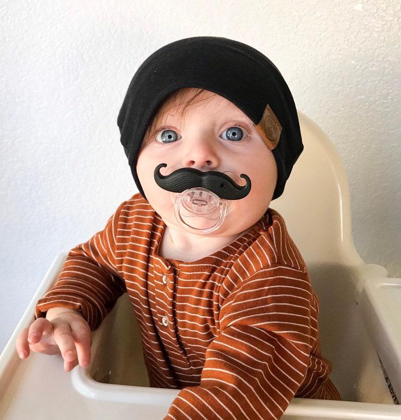 Black Slouchy: Beanie  thin knit beanie infant beanie boy image 0