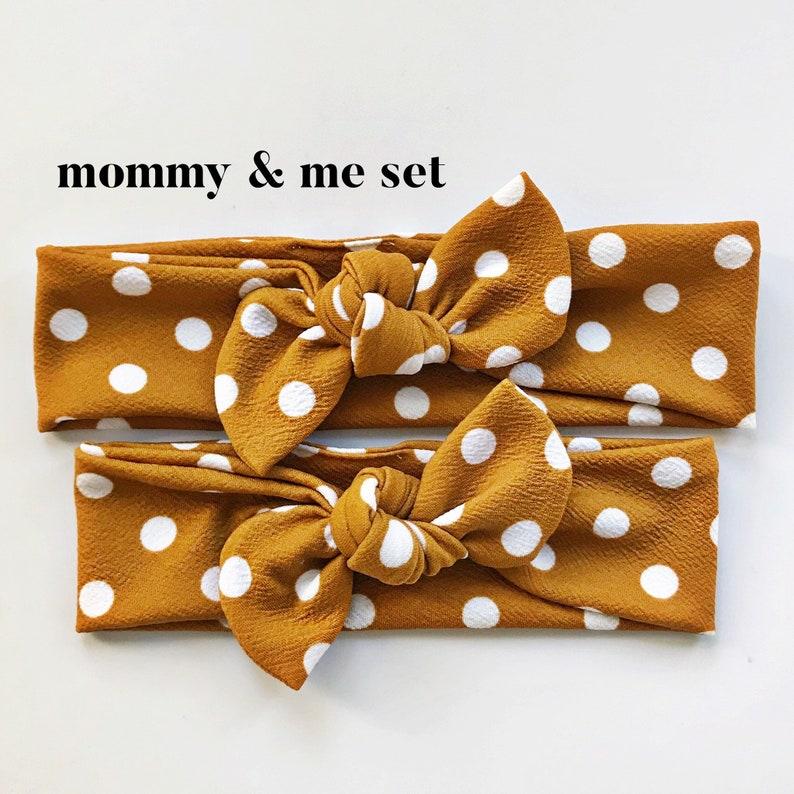 Top Knot Mommy /& Me Set mustard brown Textured Butterscotch Polka Dot Textured