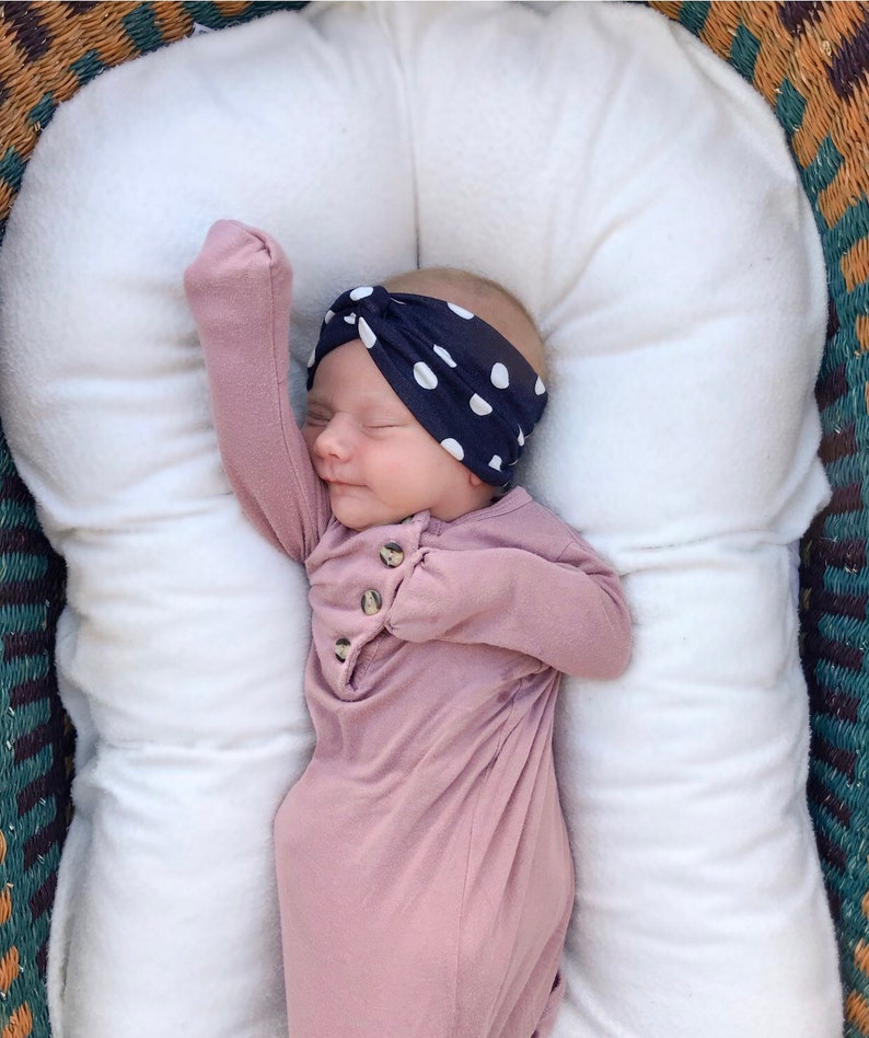 {3 items} Solid White baby bow Spring in the City Set Blue Roses Flatbow /& Big Blue Polka Dots turban headband