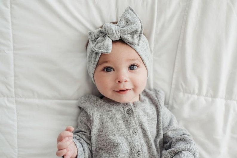 Super Soft Gray: Flat Bow sweater  baby headband sweater image 0