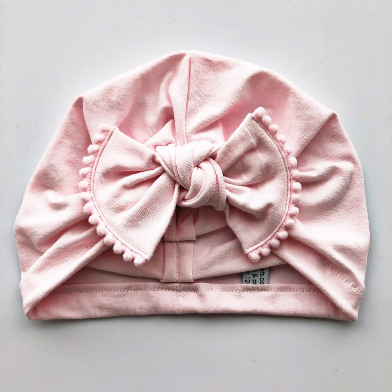 Light Pink Hat: jersey w/ Pom-Poms bow  Baby Girl Hat Baby image 0