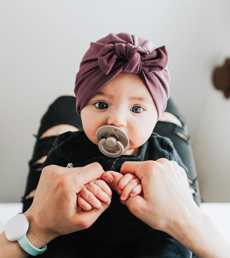 Pretty Purple Hat: soft w/ Top Knot  baby turban hat image 0