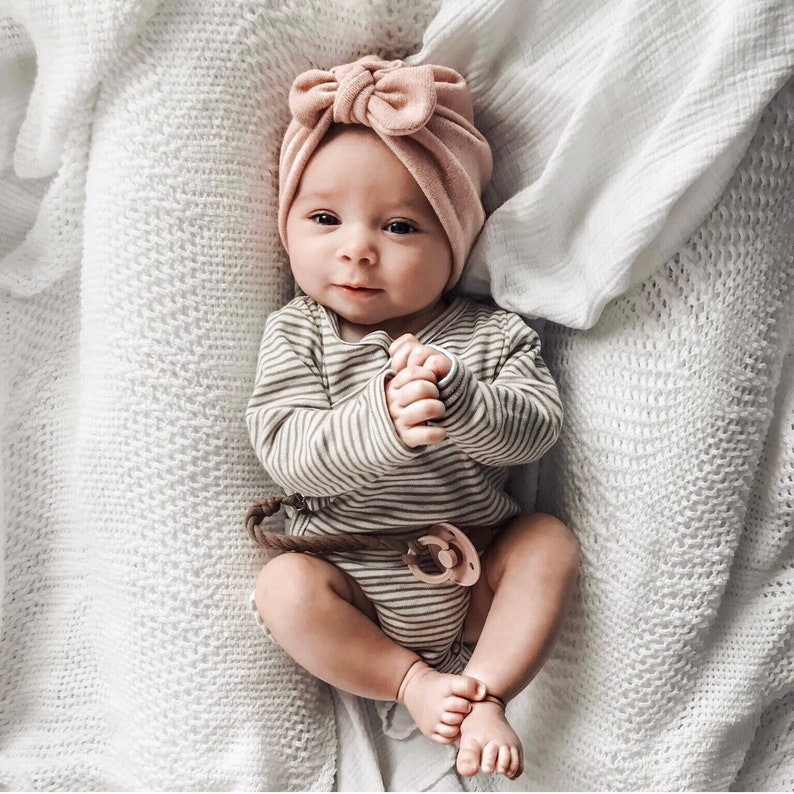 Blush Knit Hat   w top knot bow Sweater baby turban  57a6a64831a