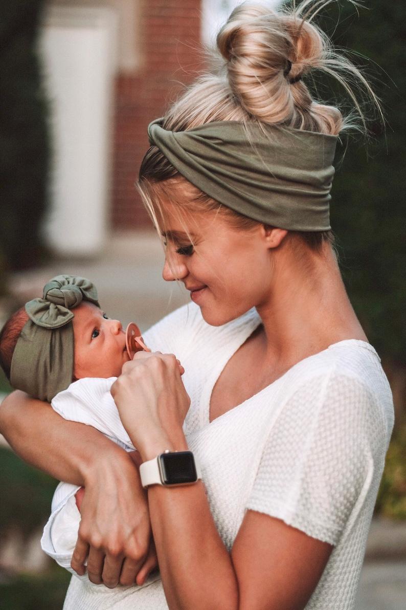 Sage : Mommy & Me set adult BOHO twist child  flat bow image 0