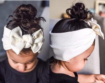 Ivory Waffle: XL Flat Bow Headband