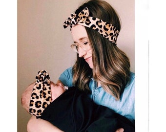 Mommy and Me: Cheetah Textured - {set of 2}  Top Knot Headbands