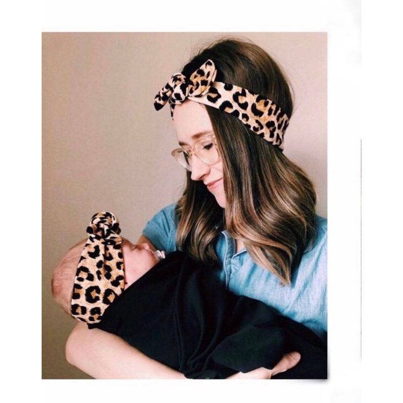 Mommy and Me: Cheetah Textured  set of 2  Top Knot image 0