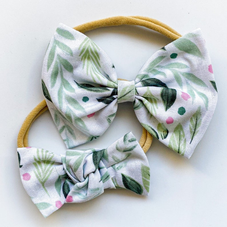 bloom dot floral bow foliage spring pink polka dots 2 items Bloom Dots DUO : baby bow /& knot bow