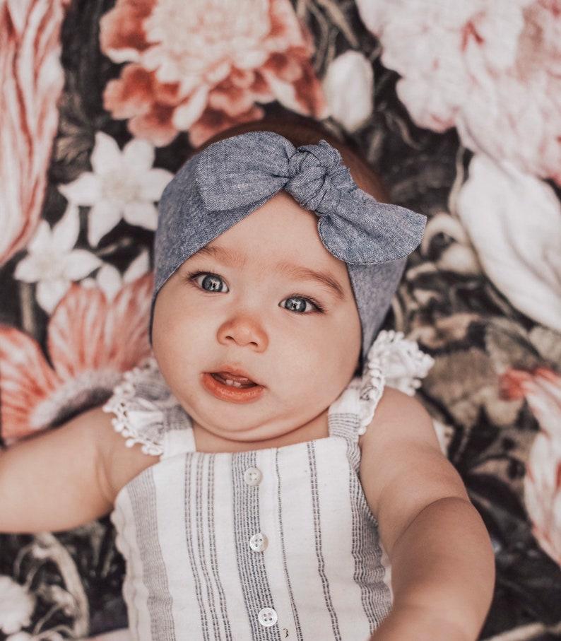 Denim Chambray: Top Knot Headband  Jean baby headband image 0