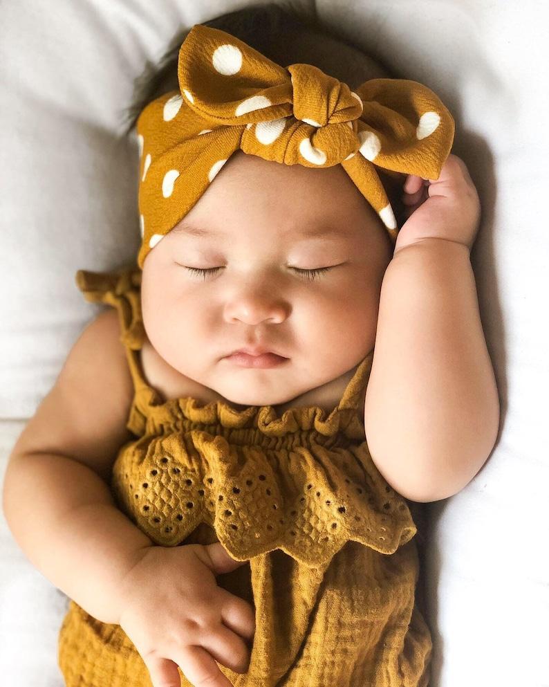 Butterscotch Polka Dot Textured: Top Knot Headband  baby image 0
