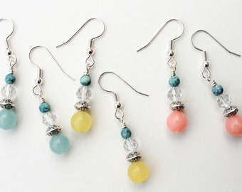 Candy Quartz Earrings : Silver-tone