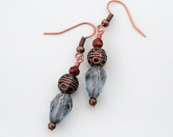 Tibetan Lantern Earrings : Copper-tone