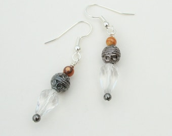 Tibetan Lantern Earrings : Silver-tone