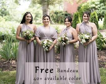 6e95e0e18b2c Bridesmaid Dresses Infinity Dress Taupe dress Convertible Formal,wrap dress  party dress Evening dress -C48# B48#