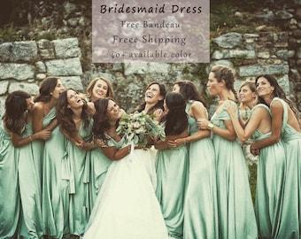 Sage green ,Bridesmaid Dress , infinity Dress Convertible Formal,wrap dress party dress Evening dress, Free Shipping