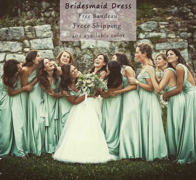 Sage green Bridesmaid Dress  infinity Dress Convertible image 0