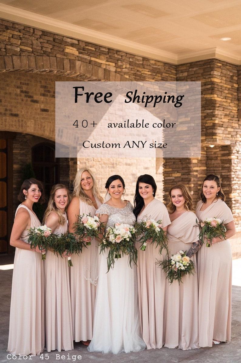 e64623770e Bridesmaid dress Beige Dresses, gown convertible dress, long infinity  dress, maternity dress, Wedding Dress C45# B45# Free Shipping