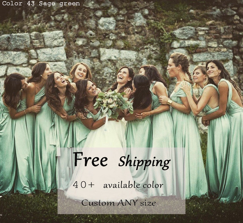 Bridesmaid Dress  Sage green infinity Dress Convertible image 0