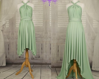 Sage green Bridesmaid Dress , Infinity Dress, Wrap Convertible Dress.Party dress-A style D style