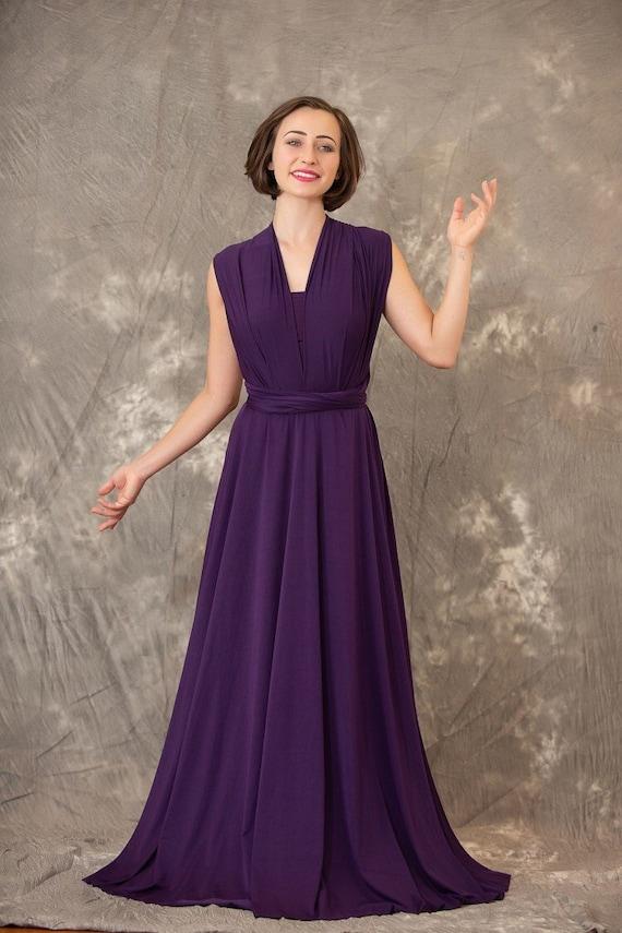 Bridesmaid Dress Infinity Dress Dark Purple Dress Wrap dress Convertible long Evening Dresses C18# B18#