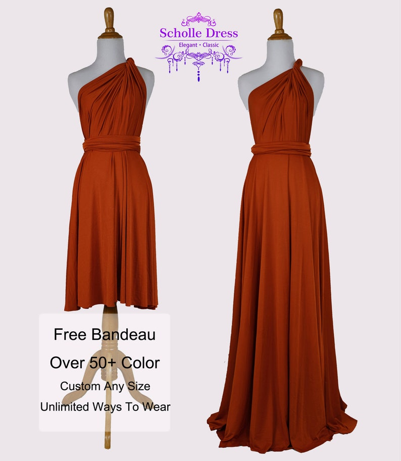 Bridesmaid Dress Burnt Orange Dresses Gown Convertible Dress Etsy