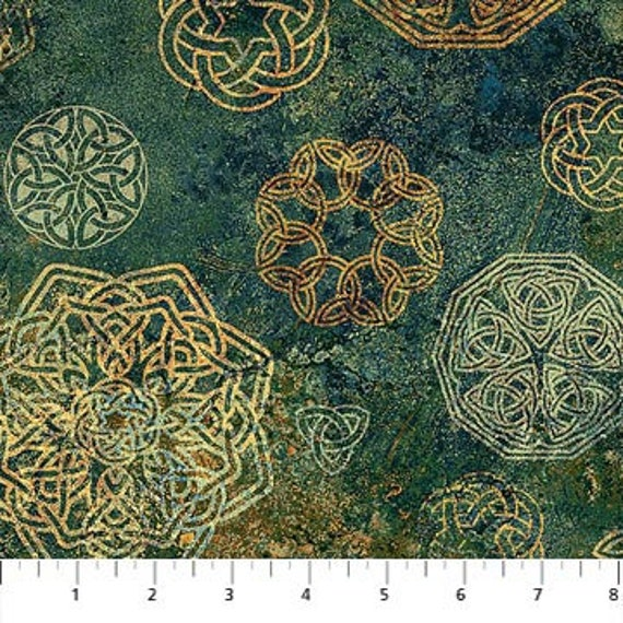Solstice Gold Celtic Knots 39432-54 Stonehenge Quilt Fabric Northcott by yard