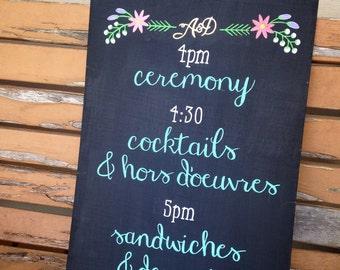 Wedding Program Sign - Event or Wedding Chalk Signs - Custom hand lettered signs