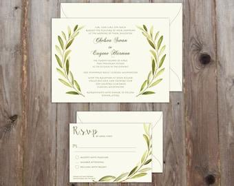 Botanical Branch Wedding Suite - Olive Branch Wreath Suite